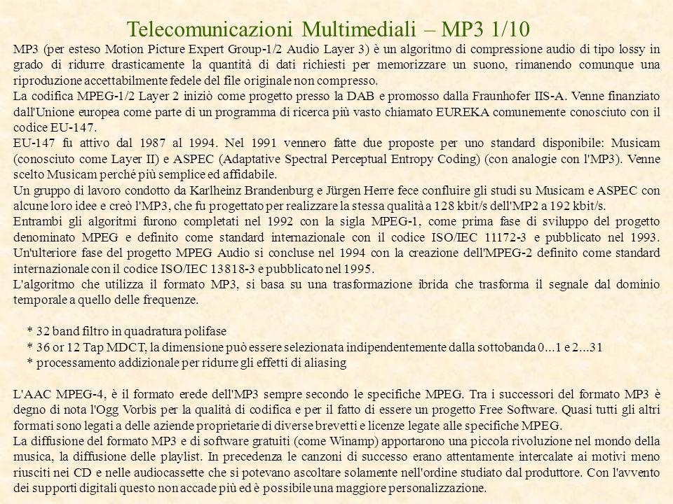 Telecomunicazioni Multimediali – MP3 1/10 MP3 (per esteso Motion Picture Expert Group-1/2 Audio Layer 3) è un algoritmo di compressione audio di tipo
