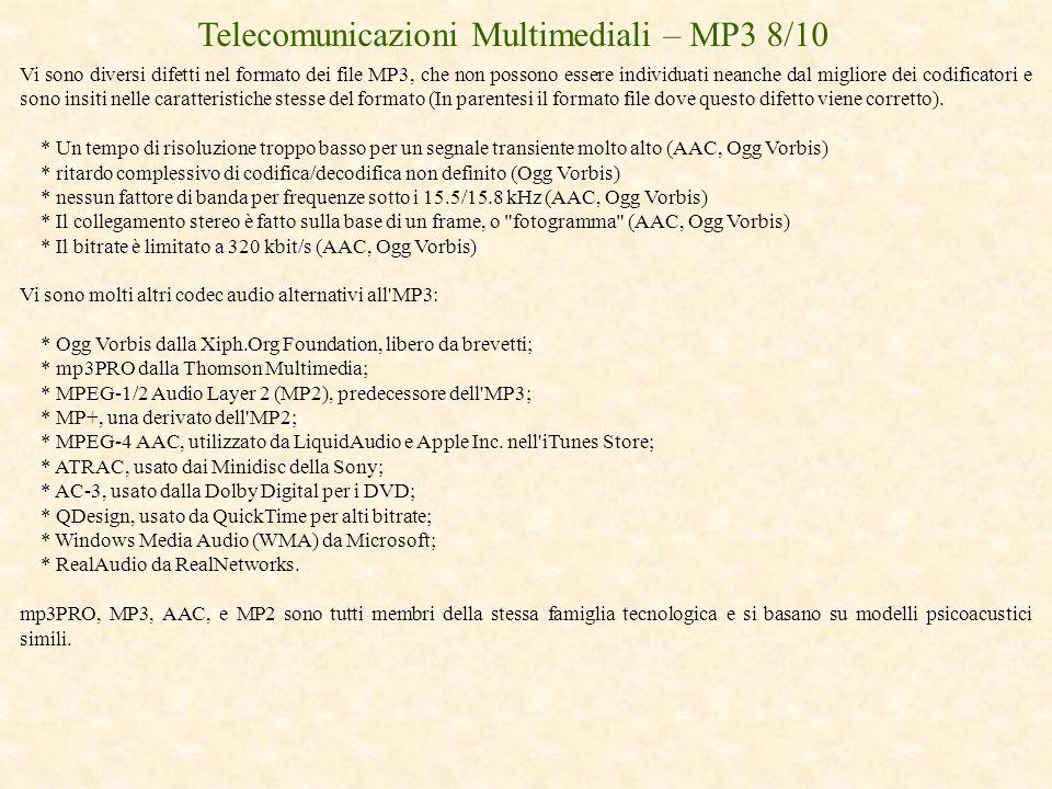 Telecomunicazioni Multimediali – MP3 8/10 Vi sono diversi difetti nel formato dei file MP3, che non possono essere individuati neanche dal migliore de
