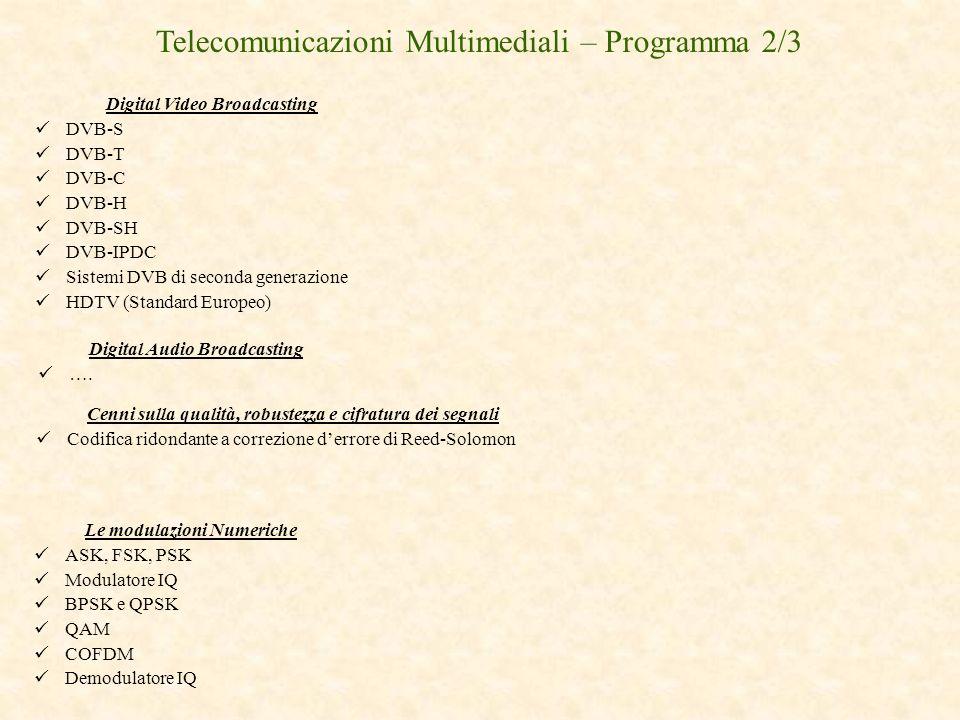 Digital Video Broadcasting DVB-S DVB-T DVB-C DVB-H DVB-SH DVB-IPDC Sistemi DVB di seconda generazione HDTV (Standard Europeo) Le modulazioni Numeriche