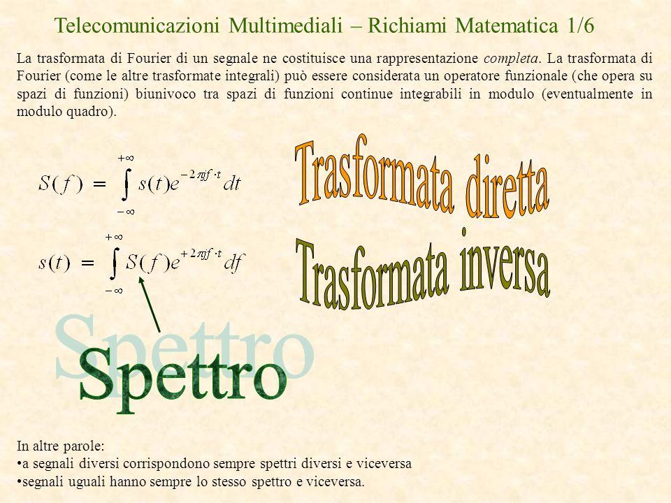 Telecomunicazioni Multimediali – Richiami Matematica 1/6 La trasformata di Fourier di un segnale ne costituisce una rappresentazione completa. La tras