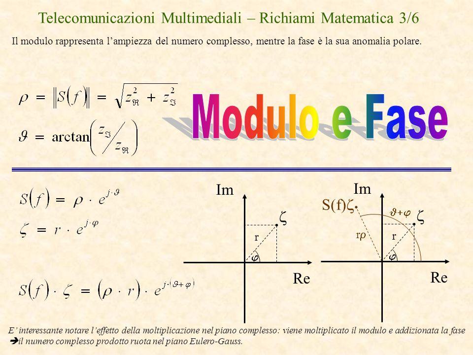 Telecomunicazioni Multimediali – Richiami Matematica 3/6 Il modulo rappresenta lampiezza del numero complesso, mentre la fase è la sua anomalia polare