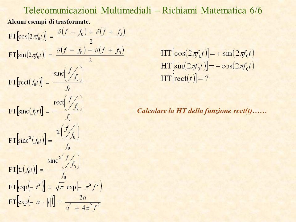 Telecomunicazioni Multimediali – Richiami Matematica 6/6 Alcuni esempi di trasformate. Calcolare la HT della funzione rect(t)……