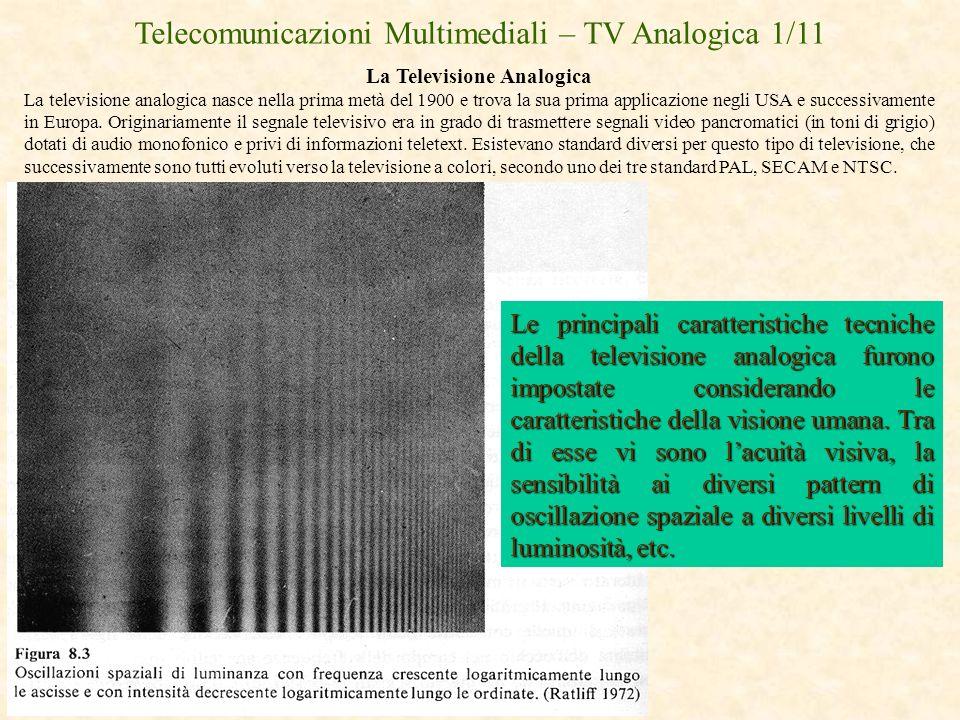 Telecomunicazioni Multimediali – TV Analogica 1/11 La Televisione Analogica La televisione analogica nasce nella prima metà del 1900 e trova la sua pr