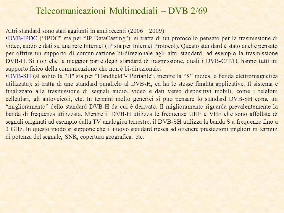 Telecomunicazioni Multimediali – DVB 2/69 Altri standard sono stati aggiunti in anni recenti (2006 – 2009): DVB-IPDC (IPDC