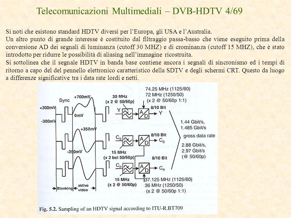 Telecomunicazioni Multimediali – DVB-HDTV 4/69 Si noti che esistono standard HDTV diversi per lEuropa, gli USA e lAustralia. Un altro punto di grande