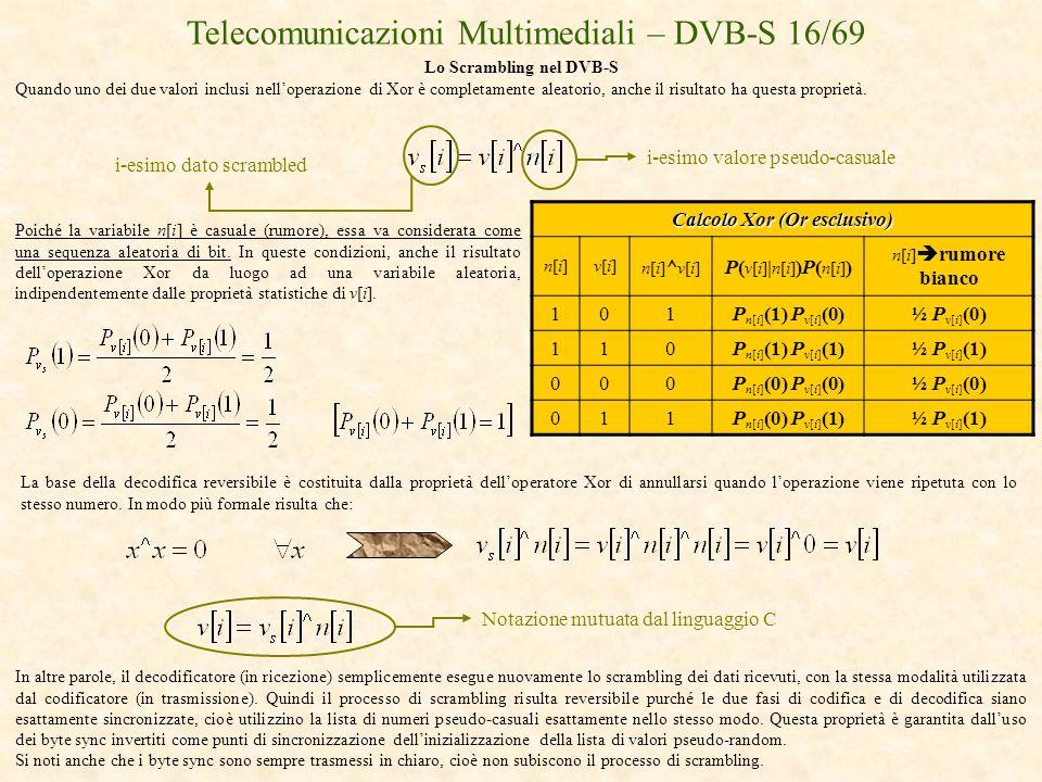 Telecomunicazioni Multimediali – DVB-S 16/69 Lo Scrambling nel DVB-S Quando uno dei due valori inclusi nelloperazione di Xor è completamente aleatorio