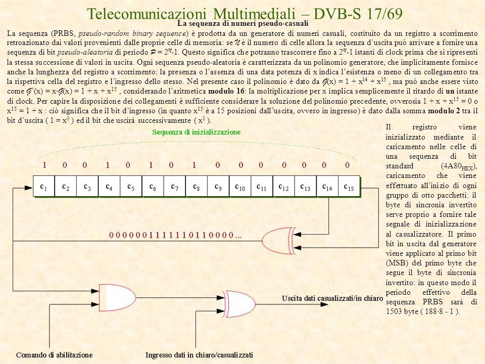 Telecomunicazioni Multimediali – DVB-S 17/69 La sequenza di numeri pseudo-casuali La sequenza (PRBS, pseudo-random binary sequence) è prodotta da un g