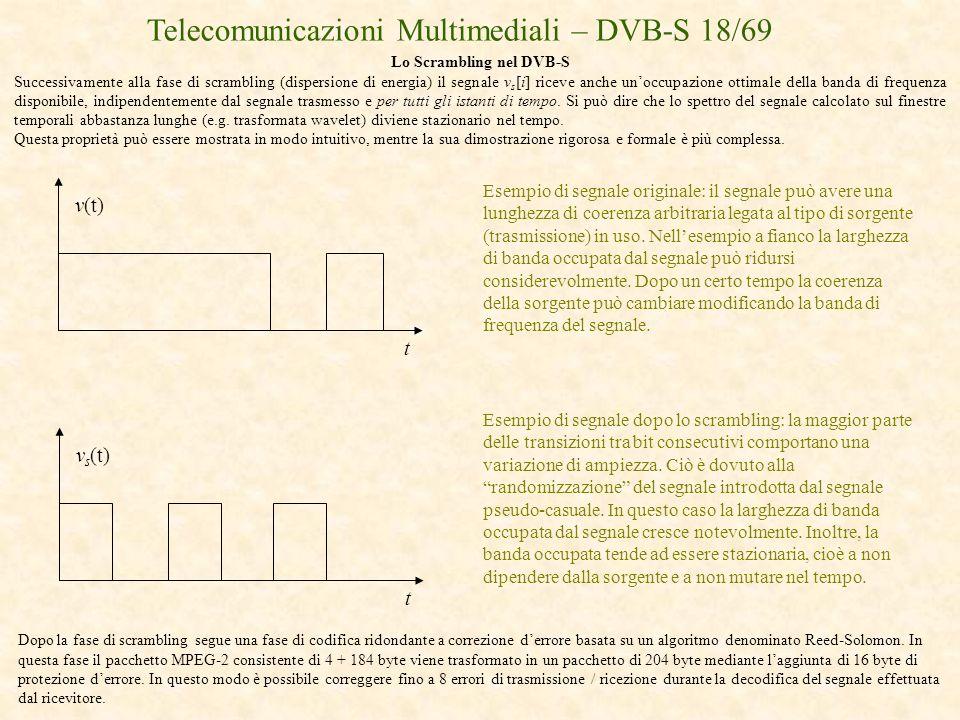 Telecomunicazioni Multimediali – DVB-S 18/69 Lo Scrambling nel DVB-S Successivamente alla fase di scrambling (dispersione di energia) il segnale v s [