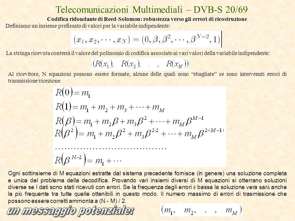 Telecomunicazioni Multimediali – DVB-S 20/69 Codifica ridondante di Reed-Solomon: robustezza verso gli errori di ricostruzione Definiamo un insieme pr