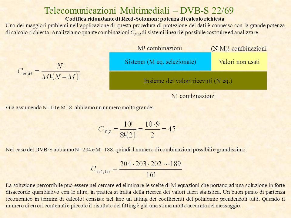 Telecomunicazioni Multimediali – DVB-S 22/69 Codifica ridondante di Reed-Solomon: potenza di calcolo richiesta Uno dei maggiori problemi nellapplicazi