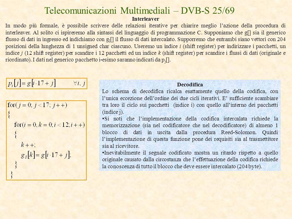 Telecomunicazioni Multimediali – DVB-S 25/69 Interleaver In modo più formale, è possibile scrivere delle relazioni iterative per chiarire meglio lazio