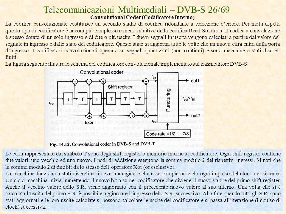 Telecomunicazioni Multimediali – DVB-S 26/69 Convolutional Coder (Codificatore Interno) La codifica convoluzionale costituisce un secondo stadio di co