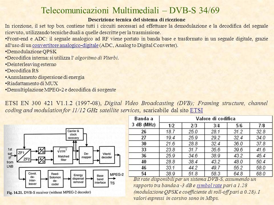 Telecomunicazioni Multimediali – DVB-S 34/69 Descrizione tecnica del sistema di ricezione In ricezione, il set top box contiene tutti i circuiti neces