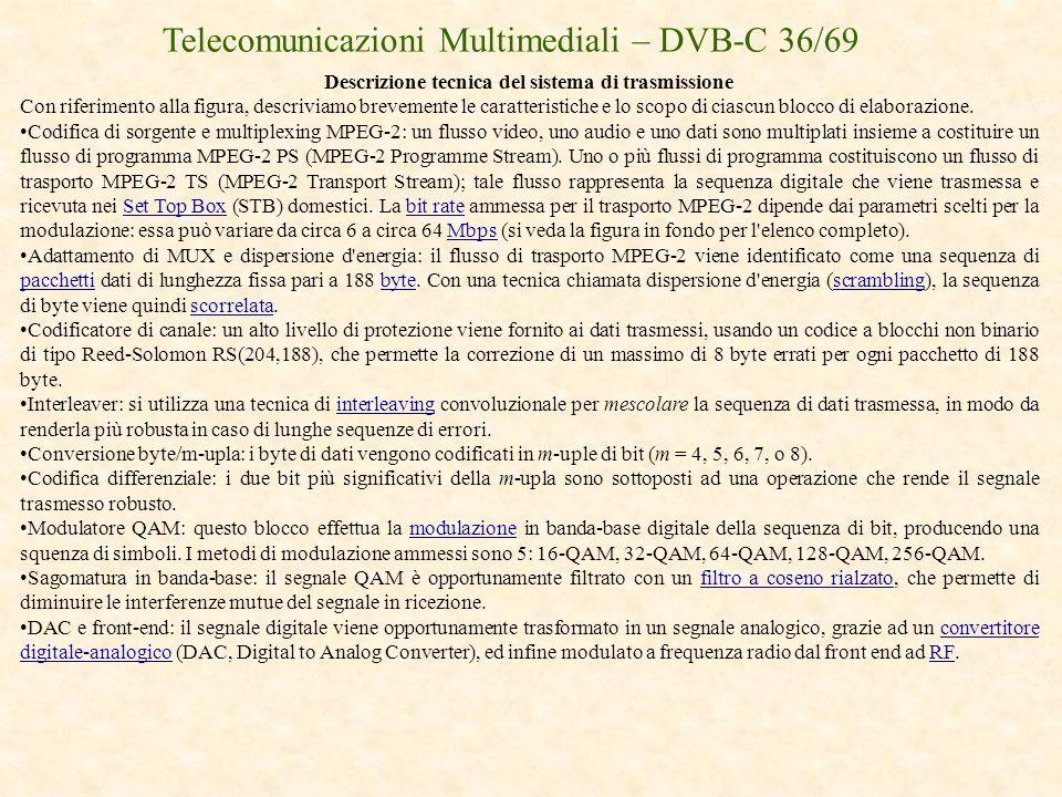 Telecomunicazioni Multimediali – DVB-C 36/69 Descrizione tecnica del sistema di trasmissione Con riferimento alla figura, descriviamo brevemente le ca