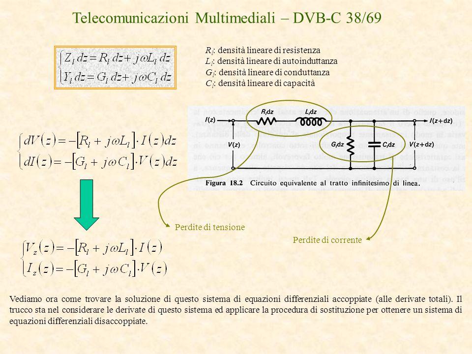 Telecomunicazioni Multimediali – DVB-C 38/69 R l : densità lineare di resistenza L l : densità lineare di autoinduttanza G l : densità lineare di cond