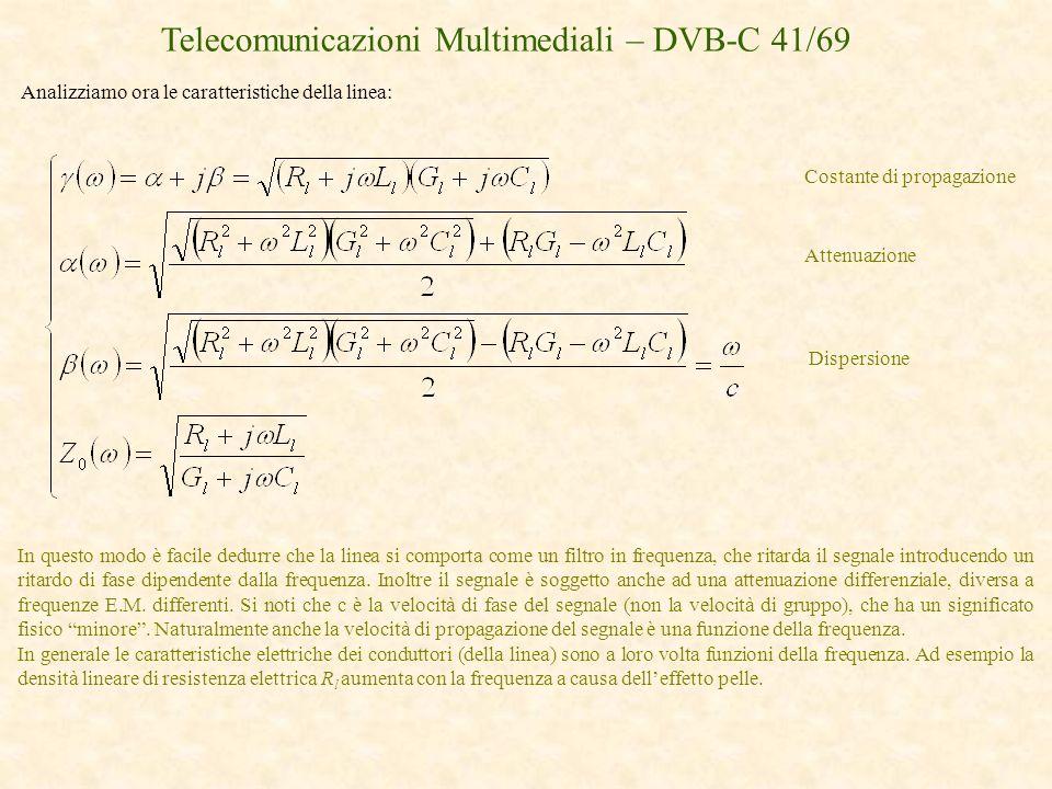 Telecomunicazioni Multimediali – DVB-C 41/69 Analizziamo ora le caratteristiche della linea: In questo modo è facile dedurre che la linea si comporta