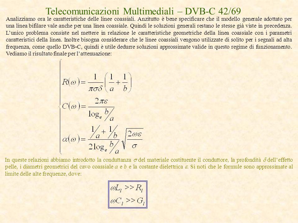 Telecomunicazioni Multimediali – DVB-C 42/69 Analizziamo ora le caratteristiche delle linee coassiali. Anzitutto è bene specificare che il modello gen