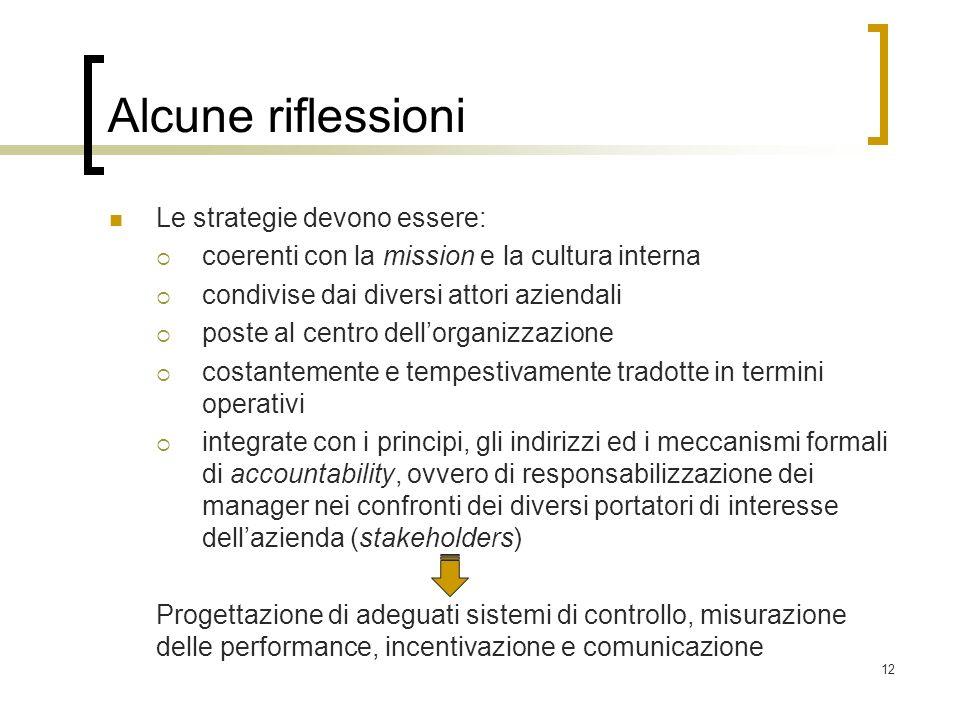 12 Alcune riflessioni Le strategie devono essere: coerenti con la mission e la cultura interna condivise dai diversi attori aziendali poste al centro