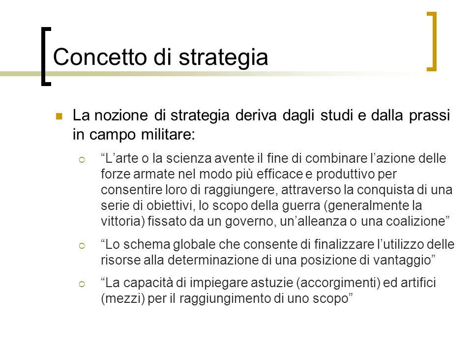 Concetto di strategia La nozione di strategia deriva dagli studi e dalla prassi in campo militare: Larte o la scienza avente il fine di combinare lazi