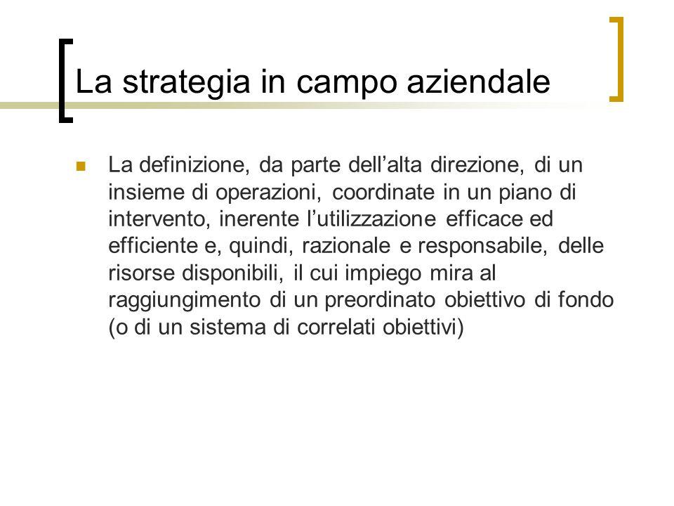 La strategia in campo aziendale La definizione, da parte dellalta direzione, di un insieme di operazioni, coordinate in un piano di intervento, ineren