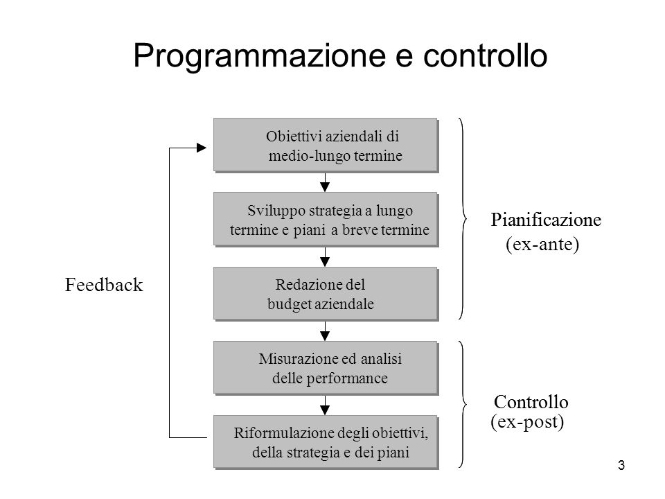 3 Programmazione e controllo Controllo Pianificazione Sviluppo strategiaa lungo termine epiania breve termine Obiettivi aziendaliabreve elungo termine