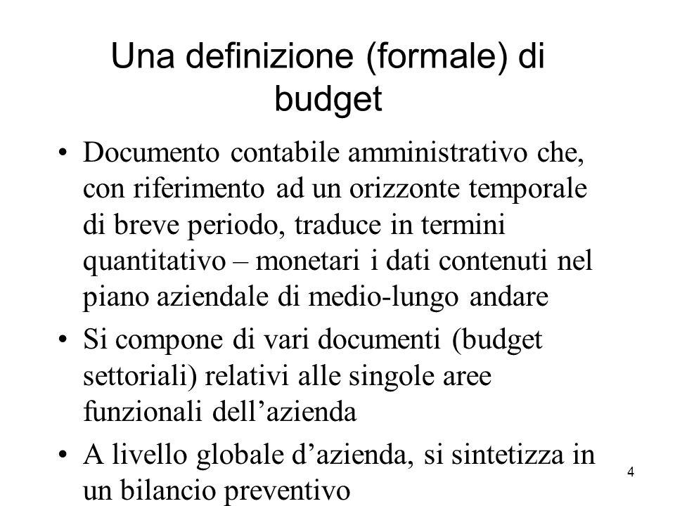 4 Una definizione (formale) di budget Documento contabile amministrativo che, con riferimento ad un orizzonte temporale di breve periodo, traduce in t