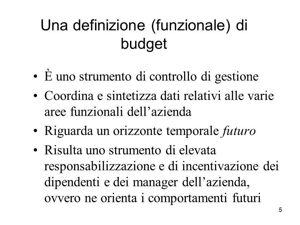 5 Una definizione (funzionale) di budget È uno strumento di controllo di gestione Coordina e sintetizza dati relativi alle varie aree funzionali della