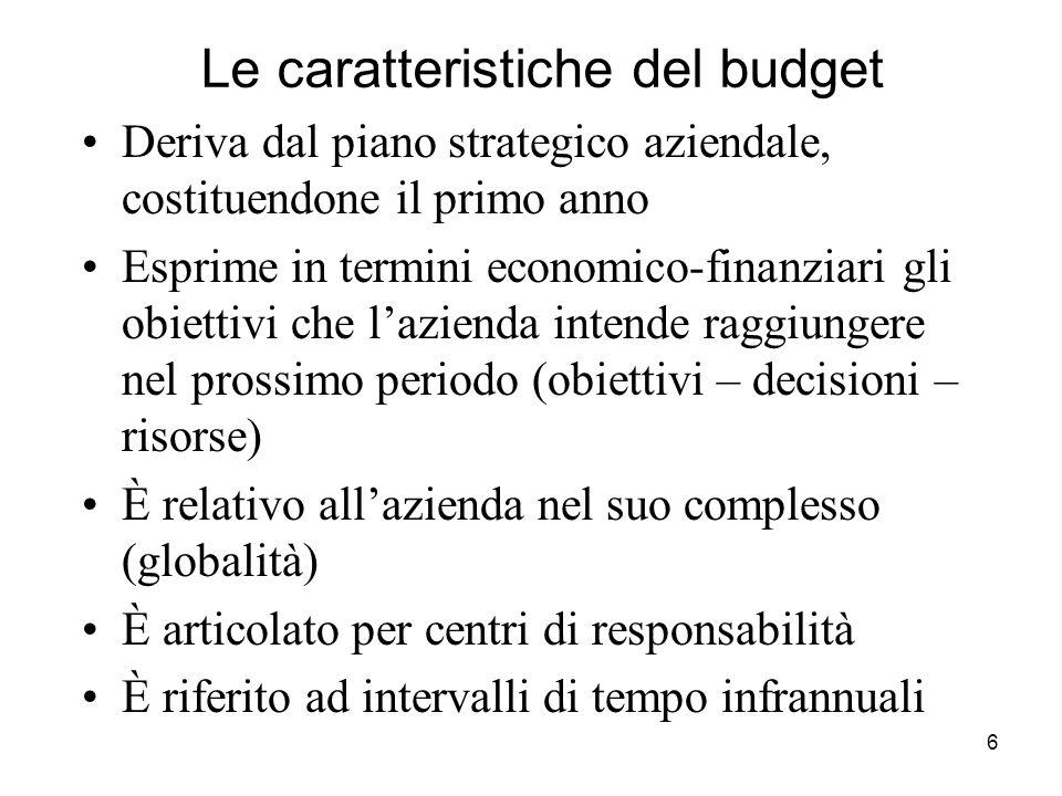 6 Le caratteristiche del budget Deriva dal piano strategico aziendale, costituendone il primo anno Esprime in termini economico-finanziari gli obietti