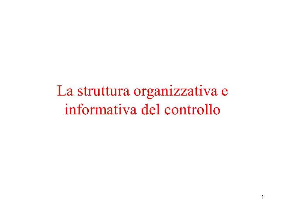 1 La struttura organizzativa e informativa del controllo