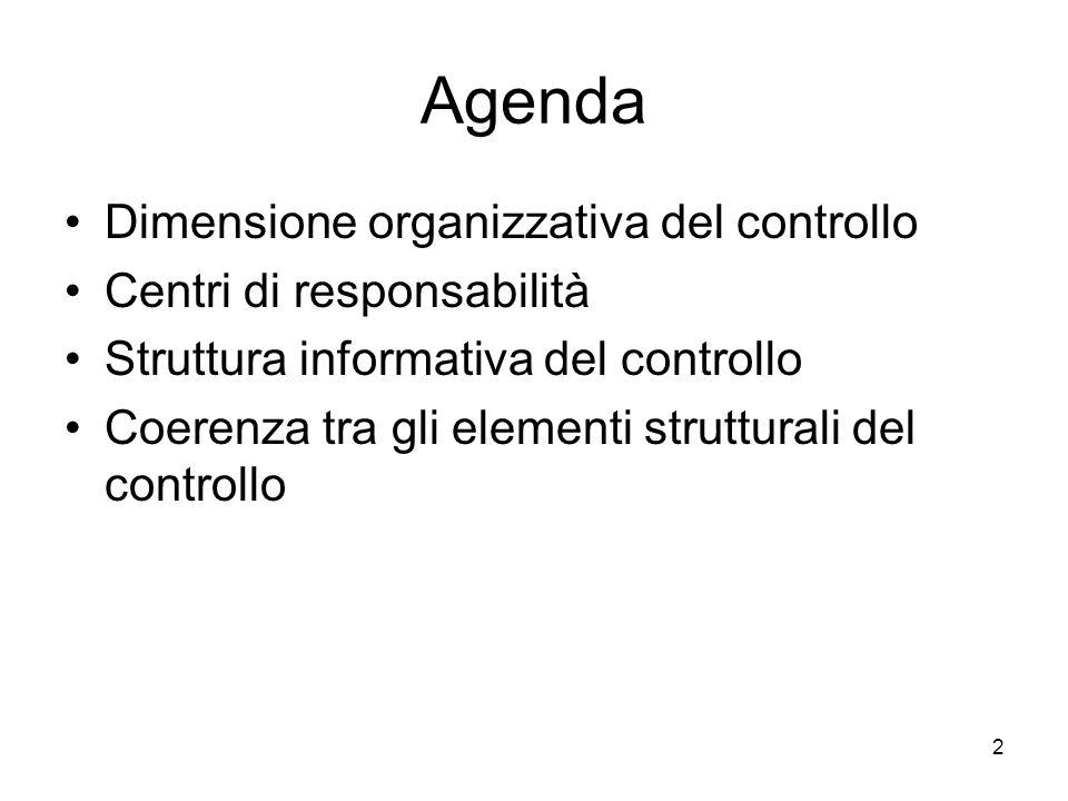 2 Agenda Dimensione organizzativa del controllo Centri di responsabilità Struttura informativa del controllo Coerenza tra gli elementi strutturali del