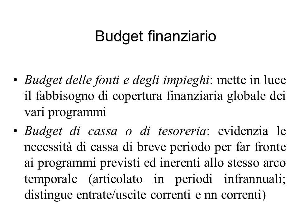 Budget delle fonti e degli impieghi: mette in luce il fabbisogno di copertura finanziaria globale dei vari programmi Budget di cassa o di tesoreria: e