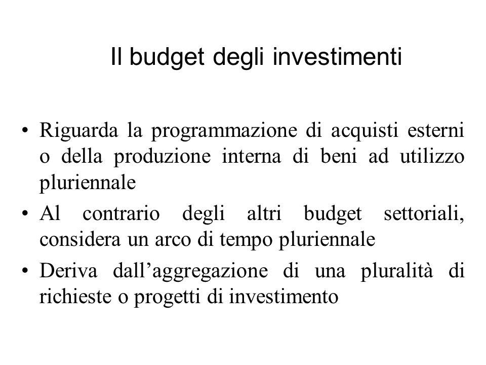 Riguarda la programmazione di acquisti esterni o della produzione interna di beni ad utilizzo pluriennale Al contrario degli altri budget settoriali,