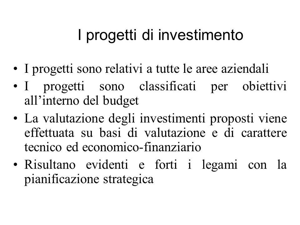 I progetti sono relativi a tutte le aree aziendali I progetti sono classificati per obiettivi allinterno del budget La valutazione degli investimenti