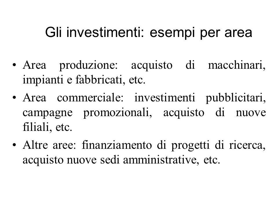 Area produzione: acquisto di macchinari, impianti e fabbricati, etc. Area commerciale: investimenti pubblicitari, campagne promozionali, acquisto di n