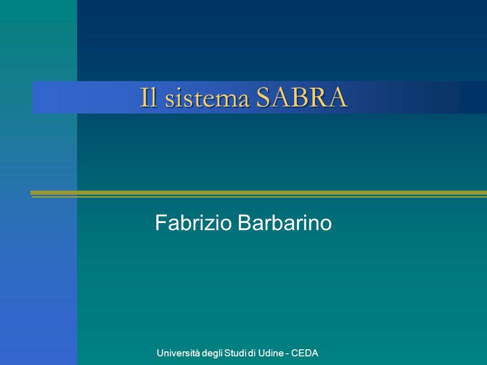 Università degli Studi di Udine - CEDA Il sistema SABRA Fabrizio Barbarino