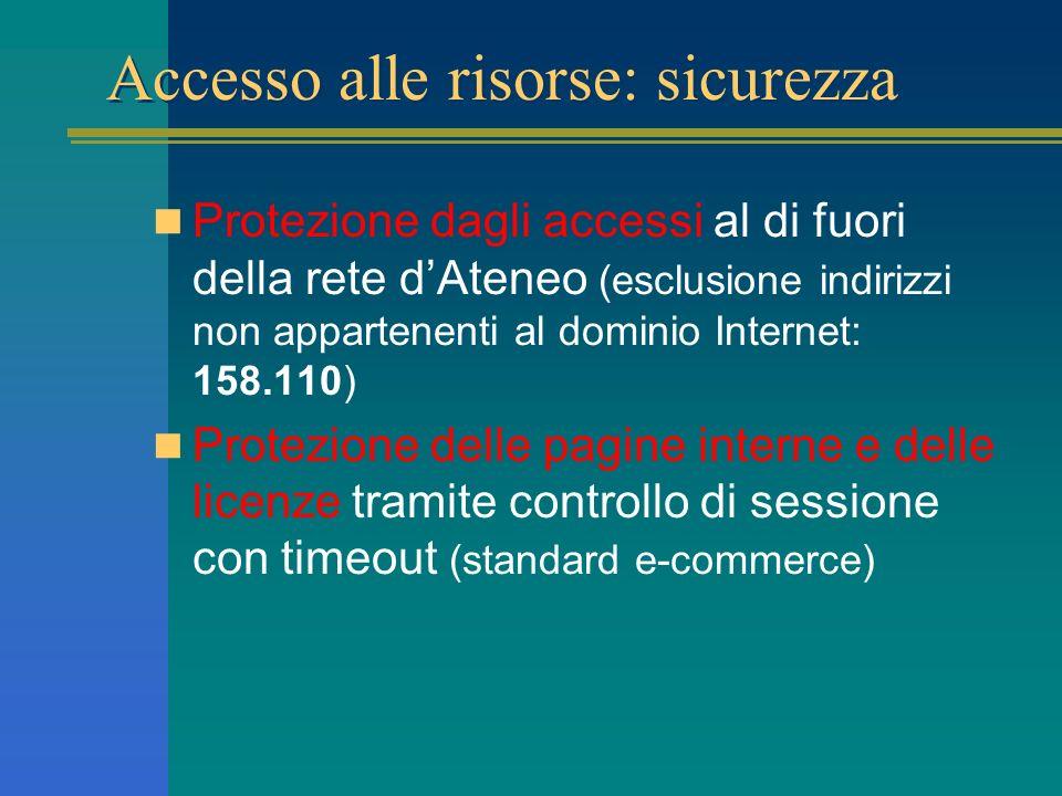 Accesso alle risorse: sicurezza Protezione dagli accessi al di fuori della rete dAteneo (esclusione indirizzi non appartenenti al dominio Internet: 158.110) Protezione delle pagine interne e delle licenze tramite controllo di sessione con timeout (standard e-commerce)