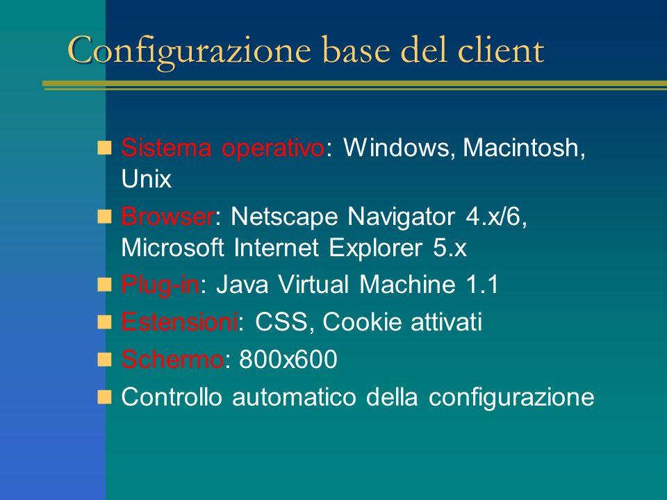 Configurazione base del client Sistema operativo: Windows, Macintosh, Unix Browser: Netscape Navigator 4.x/6, Microsoft Internet Explorer 5.x Plug-in: Java Virtual Machine 1.1 Estensioni: CSS, Cookie attivati Schermo: 800x600 Controllo automatico della configurazione