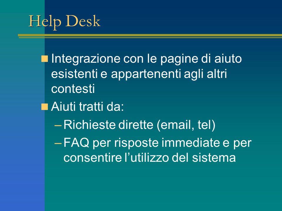 Help Desk Integrazione con le pagine di aiuto esistenti e appartenenti agli altri contesti Aiuti tratti da: –Richieste dirette (email, tel) –FAQ per risposte immediate e per consentire lutilizzo del sistema