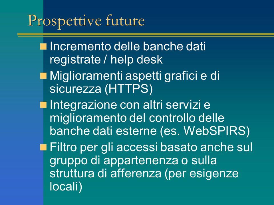 Prospettive future Incremento delle banche dati registrate / help desk Miglioramenti aspetti grafici e di sicurezza (HTTPS) Integrazione con altri servizi e miglioramento del controllo delle banche dati esterne (es.