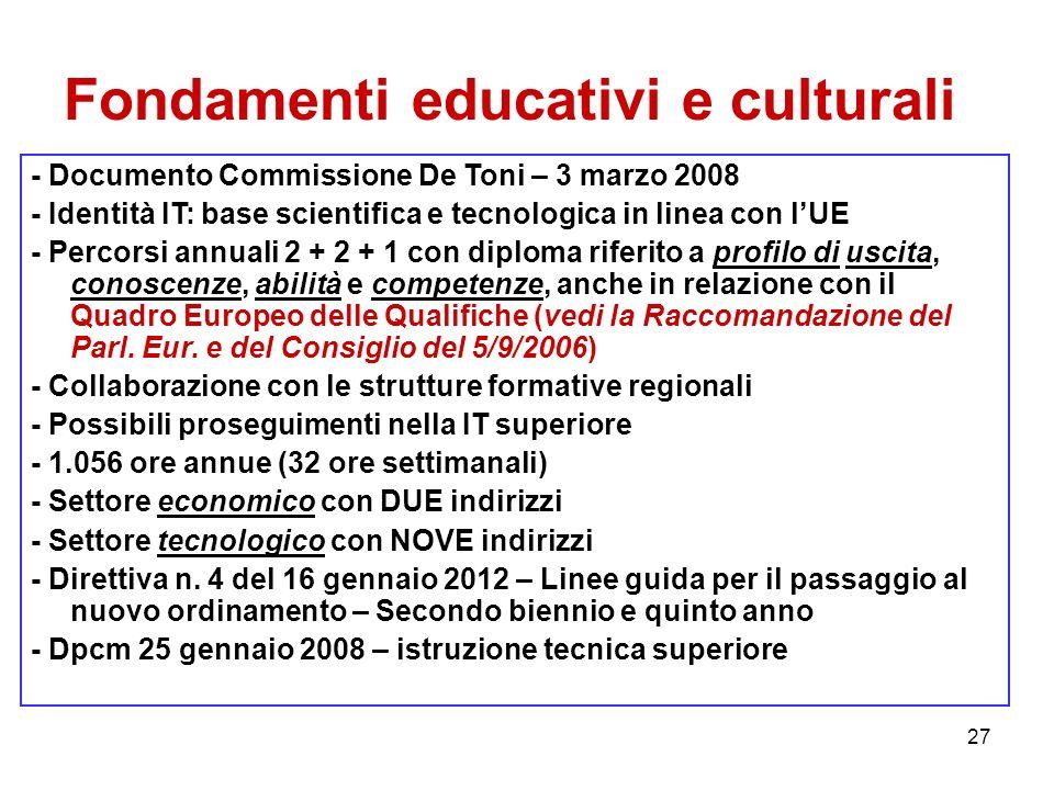 27 Fondamenti educativi e culturali - Documento Commissione De Toni – 3 marzo 2008 - Identità IT: base scientifica e tecnologica in linea con lUE - Pe