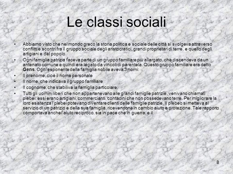 8 Le classi sociali Abbiamo visto che nel mondo greco la storia politica e sociale delle città si svolgeva attraverso conflitti e scontri fra il grupp