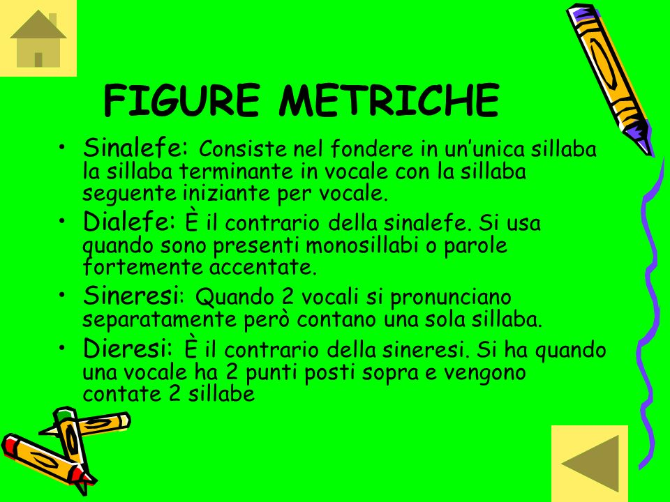 FIGURE METRICHE Sinalefe: Consiste nel fondere in ununica sillaba la sillaba terminante in vocale con la sillaba seguente iniziante per vocale. Dialef