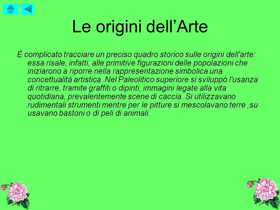 Le origini dellArte È complicato tracciare un preciso quadro storico sulle origini dell'arte: essa risale, infatti, alle primitive figurazioni delle p