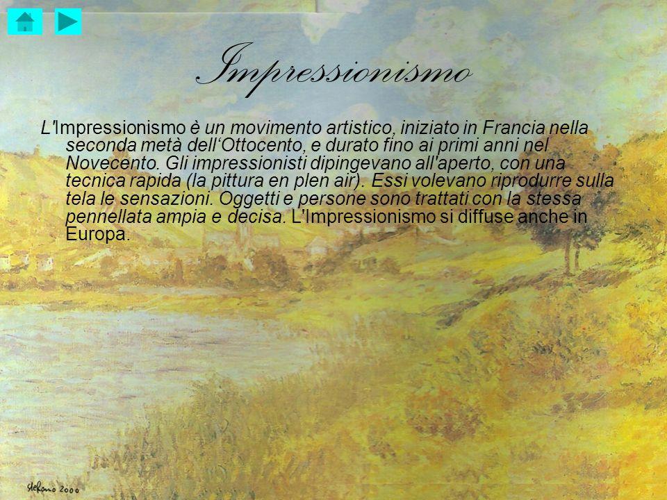 Impressionismo L'Impressionismo è un movimento artistico, iniziato in Francia nella seconda metà dellOttocento, e durato fino ai primi anni nel Novece