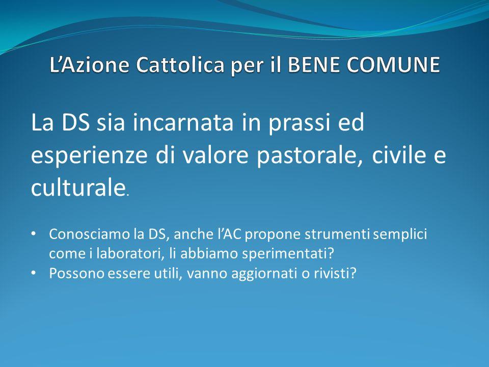La DS sia incarnata in prassi ed esperienze di valore pastorale, civile e culturale. Conosciamo la DS, anche lAC propone strumenti semplici come i lab