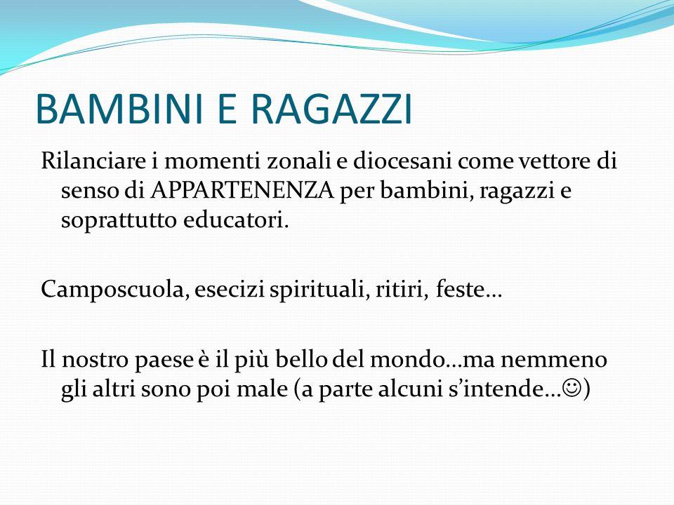 BAMBINI E RAGAZZI Rilanciare i momenti zonali e diocesani come vettore di senso di APPARTENENZA per bambini, ragazzi e soprattutto educatori. Camposcu