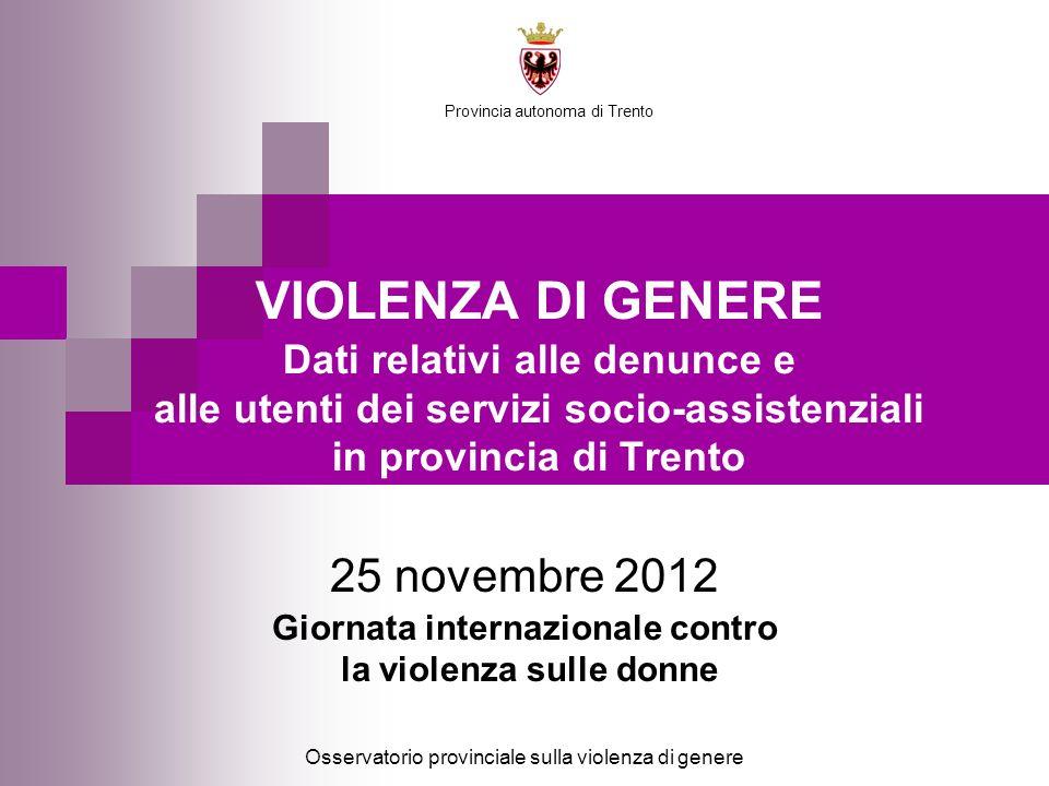 Osservatorio provinciale sulla violenza di genere Provincia autonoma di Trento 25 novembre 2012 Giornata internazionale contro la violenza sulle donne