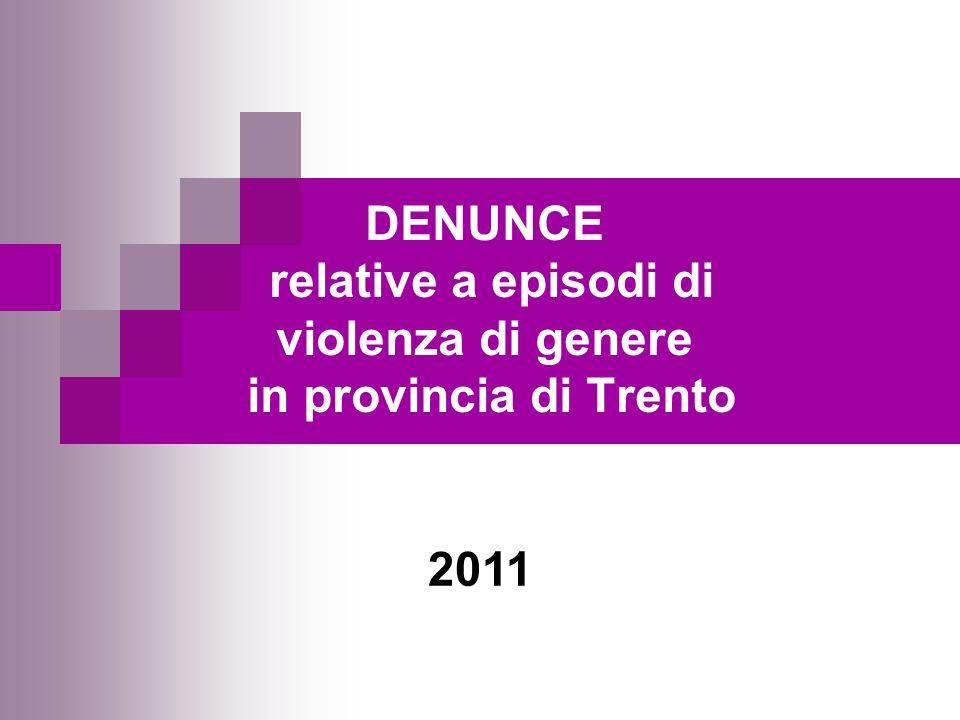 DENUNCE relative a episodi di violenza di genere in provincia di Trento 2011