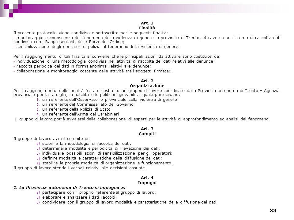 33 Art. 1 Finalità Il presente protocollo viene condiviso e sottoscritto per le seguenti finalità: - monitoraggio e conoscenza del fenomeno della viol