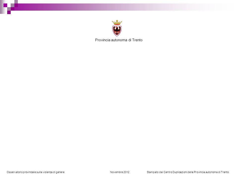 Osservatorio provinciale sulla violenza di genere Novembre 2012 Stampato dal Centro Duplicazioni della Provincia autonoma di Trento Provincia autonoma
